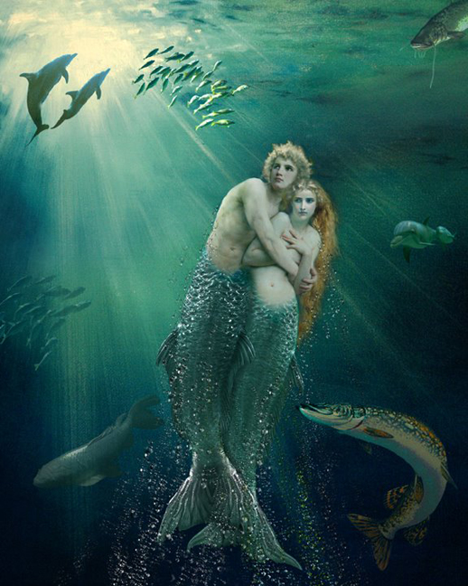 mermaid merman merpople under sea painting