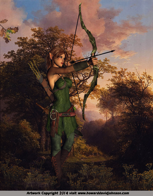 elven huntress forest elf wood archer woman