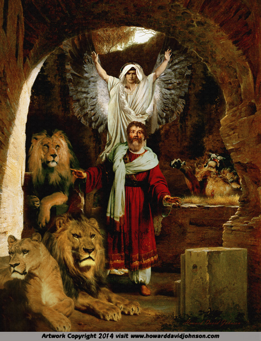 bible art biblical painting daniel lion den guardian protector