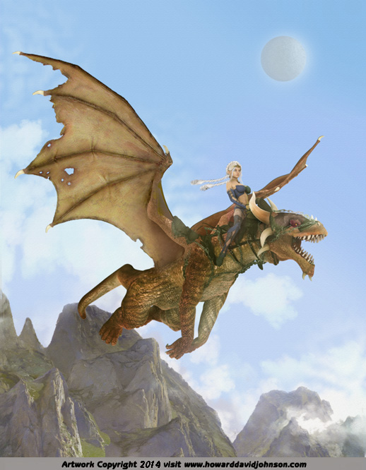 elven enchantress riding trained dragon