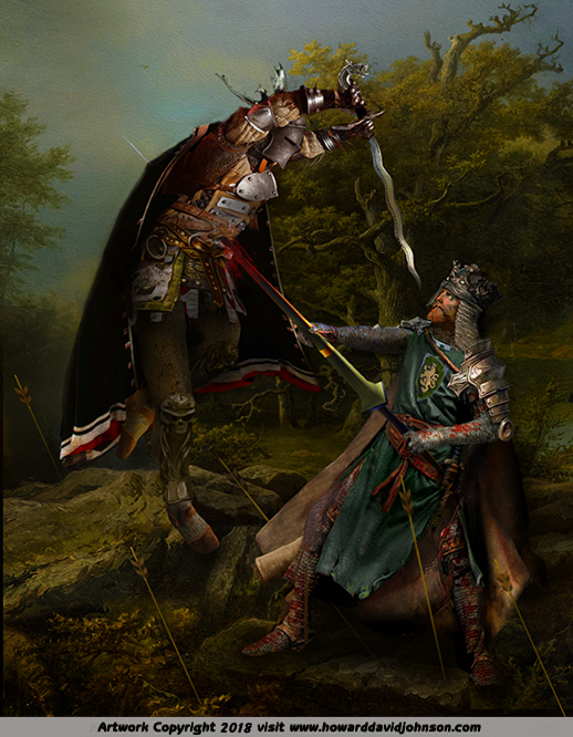 LE MORTE D'ARTHUR painting of King Arthur &  Mordred death Knights Round Table artwork
