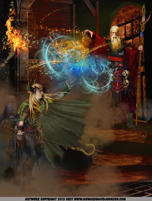 fantasy picture of the dual of the wizards elf mage magical dual