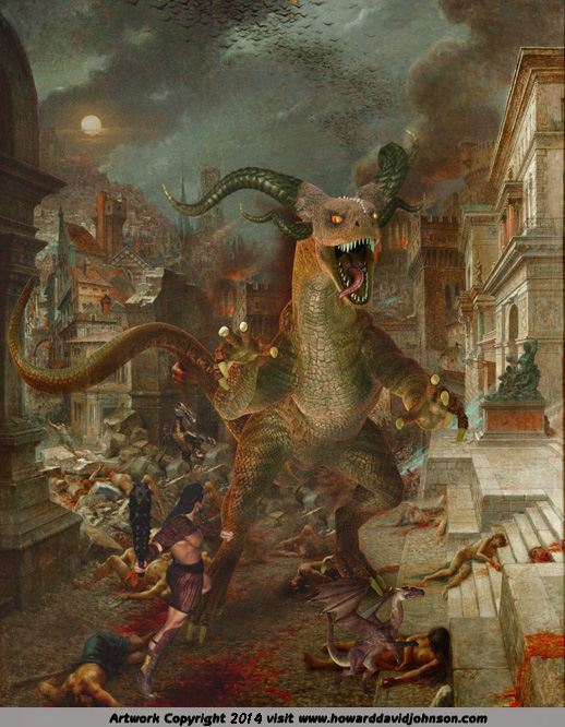 fantasy painting of demon dragon attacking city