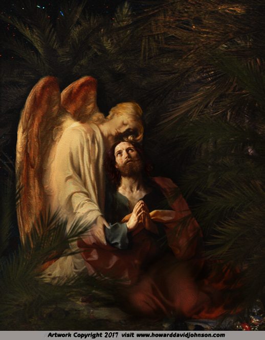 Ministering Angel art Painting Christ at Gethsemane