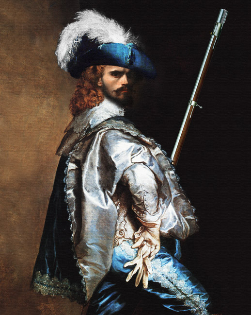 french musketeer hero royal guard portrate