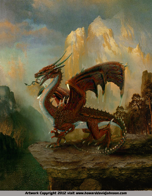 painting of the welsh red dragon