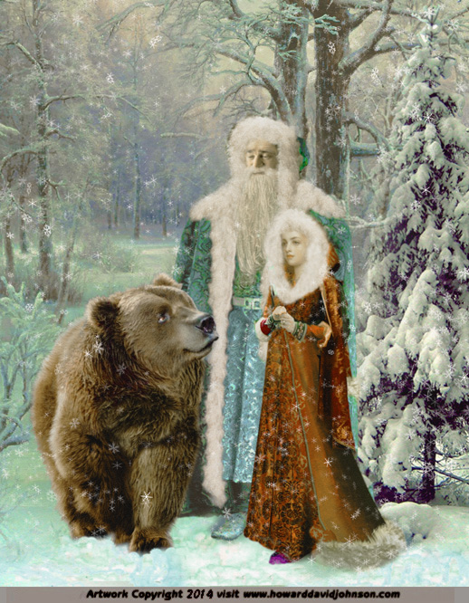 paintings of russian myth father christmass snow princess