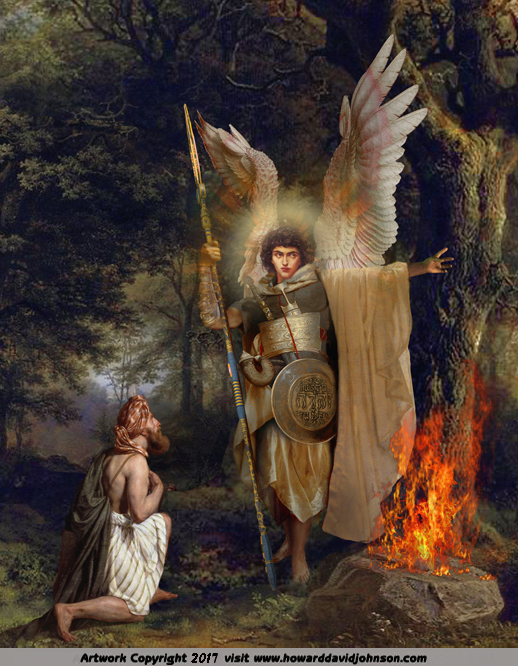 Painting of Warrior Angel with wings appearing to Gideon