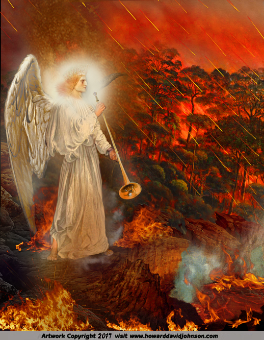 The FIRST Trumpet (Angel fiery hailstones shower the Earth)