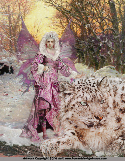 Fairy Princess Snow with Leopard in Winter