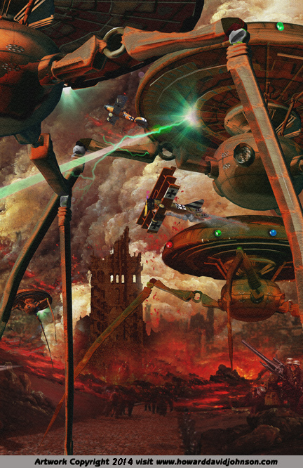 war of the worlds siance fiction art H G wells martions attack fantasy