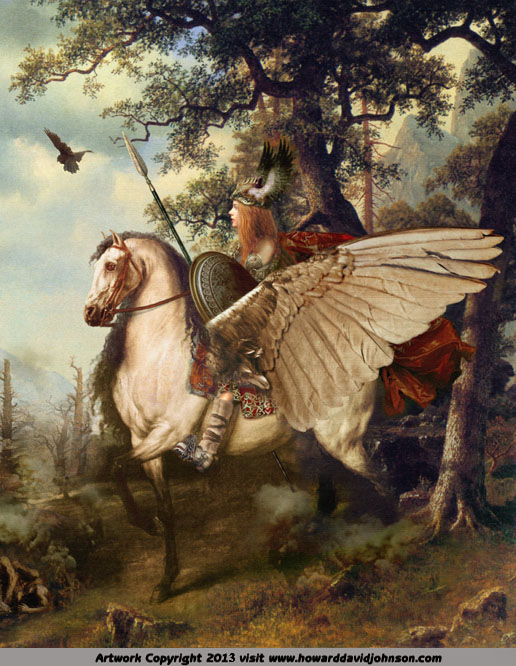 painting of norse myth nordic legend flying hourse