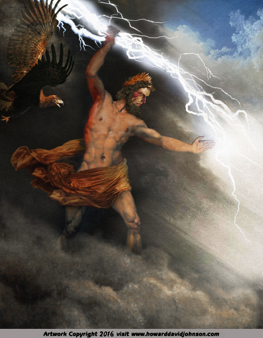 zeus jupiter jove thunder bolt lightning eagle